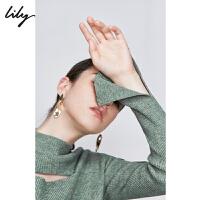 Lily2019秋新款女装糖果高领性感镂空长袖打底衫修身毛针织衫8952