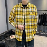 新款长袖男士衬衫韩版潮流宽松格子休闲衬衣男装衣服寸衫外套
