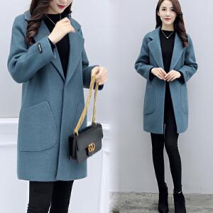 【年货气质外套】必抢!毛呢外套女中长款加厚2018秋冬装新款韩版流行赫本呢子大衣小个子