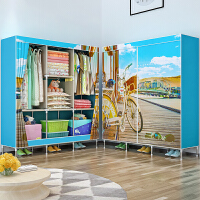 简易衣柜 双人布衣柜钢管加粗加固单人衣橱布艺组装收纳柜g6e