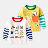 男童T恤拼接长袖宝宝假两件打底衫3韩版4岁5纯棉儿童体恤