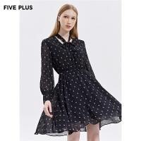 FIVE PLUS2019新款女秋装雪纺连衣裙女高腰长袖印花裙子系带卡通