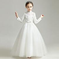 儿童礼服公主裙女童蓬蓬纱花童洋气婚纱裙长袖钢琴演出服秋冬