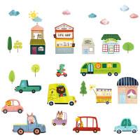 卡通儿童房装饰墙壁贴纸可爱汽车动物幼儿园教室布置自粘墙纸贴画 图片色 特大