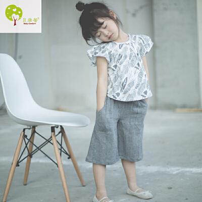 【当当自营】贝康馨童装 女童纯棉树叶短衫 韩版儿童蝴蝶袖娃娃衫夏季新款 支持货到付款