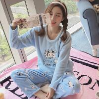 冬季珊瑚绒睡衣女长袖卡通韩版加厚秋天法兰绒可爱学生家居服套装