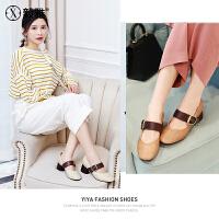 【毅雅】2018春季新款浅口单鞋韩版玛丽珍鞋粗跟休闲鞋奶奶鞋学生女鞋 YD8AQ5377