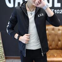 春秋开学季学生韩版潮流修身夹克青少年休闲运动薄款大码男装外套 M 165