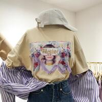 韩国ulzzang2018春装新款字母亮片装饰圆领百搭短袖T恤衫女时尚潮