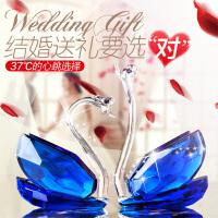七夕礼物 水晶天鹅创意结婚礼物高档送闺蜜新婚礼品酒柜电视柜摆件家居饰品