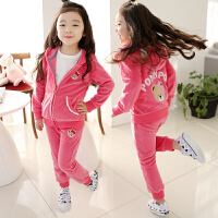 女童运动套装春新休闲宝宝天鹅绒运动服春秋两件套