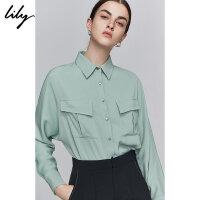 Lily2019秋新款女装气质工装单排扣口袋宽松通勤长袖衬衫女4921