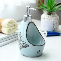 简约陶瓷乳液瓶创意两用洗洁精分装瓶洗手液瓶子带海绵座沐浴瓶