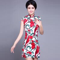 2017新款夏弹力亚麻旗袍裙优雅修身时尚礼服女短款旗袍连衣裙