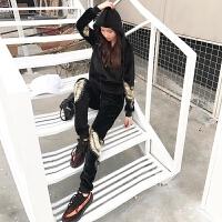 新款韩版秋冬天鹅运动休闲套装女时尚刺绣两件套 黑色 加绒加厚