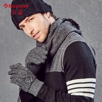 冬天保暖羊毛针织手套男户外骑车保暖加厚双层五指全指毛线手套2805