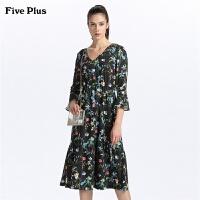 Five Plus女装V领雪纺连衣裙女喇叭中袖中长裙高腰印花气质