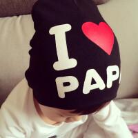 婴儿帽子夏6新生儿宝宝帽子我爱爸爸妈妈男女童0-3个月幼儿套头帽