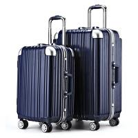 gfd行李箱铝框pc拉杆箱万向轮男女通用旅行箱包硬旅游登机箱20寸24寸 宝蓝色 20寸[铝框 终身质保]