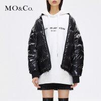 MOCO秋冬季新品罗纹立领面包白鸭绒羽绒服女MA183EIN103 摩安珂