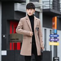 男士风衣中长款呢子外套韩版毛呢修身翻领大衣男冬季新款帅气 915卡其 M