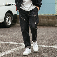VIISHOW2017秋装新品牛仔长裤男破洞做旧街头风青年男士牛仔裤潮