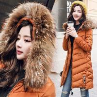 新款冬季女士新品棉衣中长款加厚纯色棉衣时尚连帽真毛领棉袄