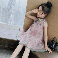女童旗袍连衣裙新款中国风网纱背心裙小女孩童装休闲裙子 藕粉色