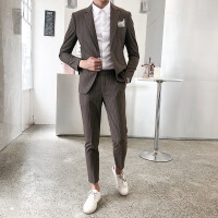 条纹西服套装男英伦修身韩版职业装正装商务 咖啡色