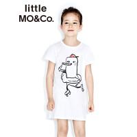 littlemoco女童卡通图案纯棉中长款休闲连衣裙KA172DRS201
