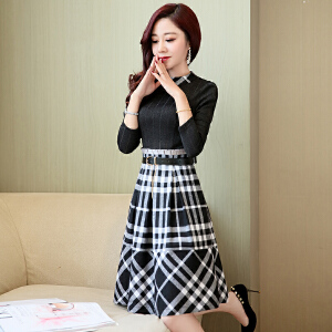 2018新款春装韩版女装套头长袖时尚修身潮流显瘦中长款收腰连衣裙