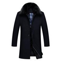 中老年男士中长款宽松仿羊毛呢子大衣中年加厚商务风衣仿羊绒妮子外套jyl 黑色 XL