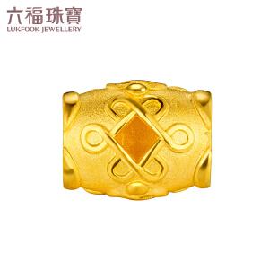 六福珠宝如意结黄金转运珠路路通DIY串珠手绳  GDGTBP0011