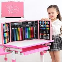 儿童水彩笔套装幼儿园画画笔美术用品绘画小学生画画工具蜡笔礼品文具 128木质画板粉色 画本礼袋