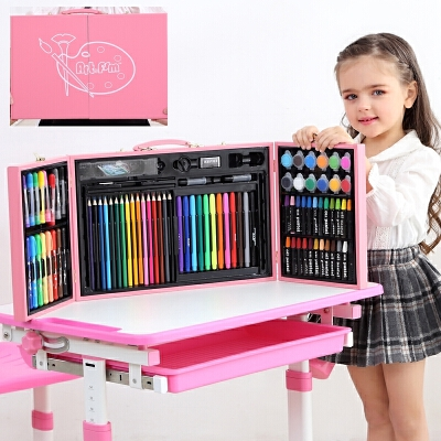 儿童水彩笔套装幼儿园画画笔美术用品绘画小学生画画工具蜡笔礼品文具 128木质画板粉色 画本礼袋 发货周期:一般在付款后2-90天左右发货,具体发货时间请以与客服协商的时间为准