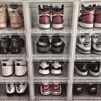 球鞋收纳盒 aj透明塑料篮球鞋盒 乔丹收藏展示鞋柜防氧化黑色鞋盒 36x28x18cm