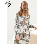 【预估到手价119.8】lily春新款女装OL可收腰系腰带印花衬衫连衣裙女118129C7920