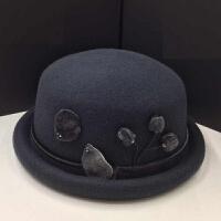 高端秋冬女士兔毛花朵全羊毛毡帽优雅定型小礼帽子英伦保暖盆帽潮 可调节