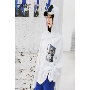 七格格连帽套头卫衣2018新款春装女装韩版学生休闲上衣宽松白色运动长袖