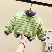 宝宝加绒卫衣婴儿童装冬装保暖上衣男女童高领打底衫