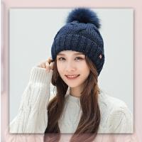 女秋冬韩版毛线帽毛球加绒百搭保暖针织帽