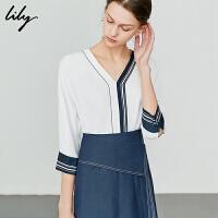 【2件4折到手价:147.6元】 Lily夏新款简约撞色条纹V领雪纺衫宽松衬衫女119230C4606