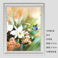 数字油画外框定做 欧式实木相框 海报写真画框 婚纱框 乳白色 白烫金