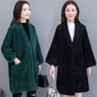 毛衣开衫女秋冬季新款韩版宽松加厚中长款仿貂绒大衣针织外套 均码