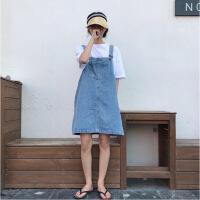 2018秋季新款韩版女装宽松中长款减龄牛仔背带裙百搭显瘦无袖连衣裙女裙子 均码