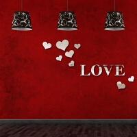 爱心形亚克力3d立体墙贴画情侣墙纸自粘婚房卧室温馨浪漫床头装饰 中