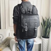 香港双肩包男士背包真皮韩版扣带翻盖男包休闲时尚电脑包新款 黑色