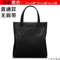 男包手提包商务包单肩斜挎包时尚男式包公文包包男士手提包 竖版黑色 单包