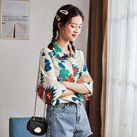 [1件2.5折价69元]唐狮夏装新款衬衫女韩版满身花法式短袖衬衣复古港味宽松上衣A