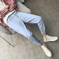 冬季牛仔裤男修身长裤秋冬款男士直筒裤韩版潮流百搭小脚裤子